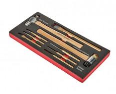 Montagehammer - Steinmeißel - Körner - Durchtreiber Set 9-teilig in Schaumstoffeinlage
