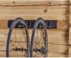 Gerätehalterschiene 60 cm mit zwei Fahrradaufbewahrungs Haken - Wandhalterung vertikal für Fahrrad