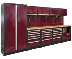 Komplette Werkstatteinrichtung Heavy duty rot, Werkbank mit Metallarbeitsplatte, 12 Schubladen, 379,5 x 200 cm