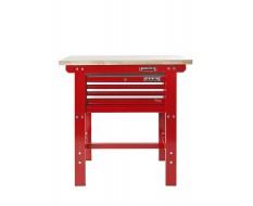 Werkbank 100 cm + Werkzeugkiste ( Rot ) 3 Schubladen
