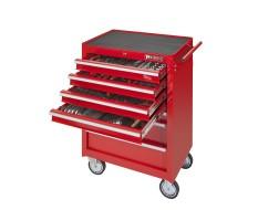 Werkstattwagen 7 Schubladen - rot - davon 4 Schubladen gefüllt - bestückt
