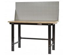 Werkbank 150 cm in Schwarz mit Werkzeuglochwand in Grau