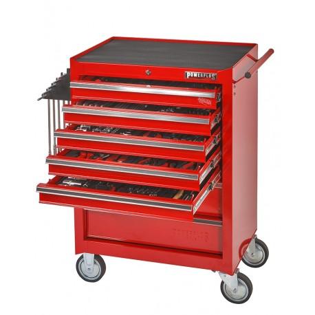 Werkstattwagen (rot) 7 Schubladen - davon 5 Schubladen gefüllt - bestückt