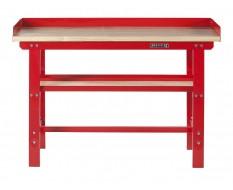 Werkbank 150 cm Stahl ( Rot ) Hartholz - Kap. 1000 kg. + 7 cm. Rand