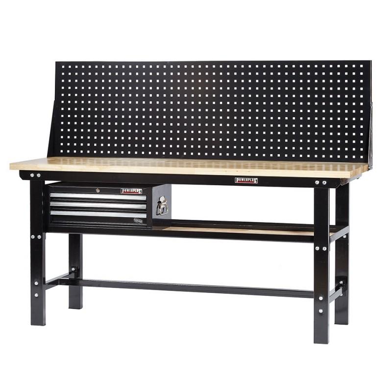 profi werkbank 200 cm inkl werkzeuglochwand und werkzeugkiste 3 schubladen schwarz. Black Bedroom Furniture Sets. Home Design Ideas