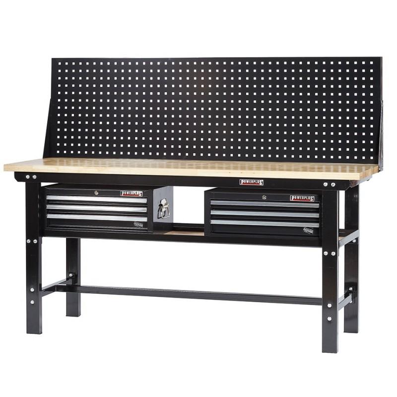 profi werkbank 200 cm inkl 2 x werkzeugkiste 3 schubladen und lochwand schwarz. Black Bedroom Furniture Sets. Home Design Ideas