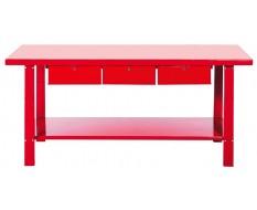 Werkbank metall Rot 200 cm. mit 3 Schubladen