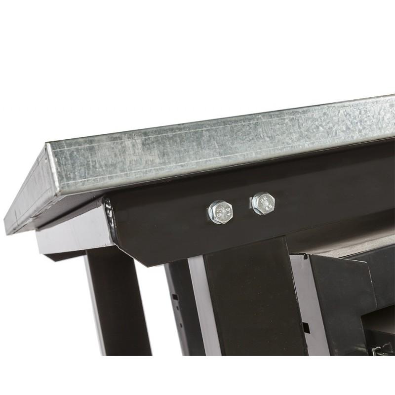Werkbank Zinkverkleidung   Werkbank Metall + Werkstattwagen mit 5 Schubladen   schwarz