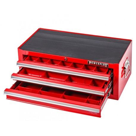 Werkzeugkiste Rot 3 Schubladen mit Einzelarretierung + 40 Sortierkästen Kunststoff