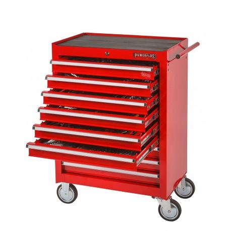 Werkstattwagen bestückt - Werkstattwagen gefüllt rot 9 Schubladen - davon 6 Schubladen gefüllt und 3 Schubladen leer