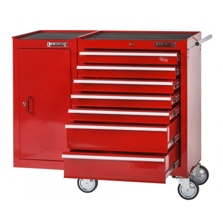 Werkstattwagen 7 Schubladen + Werkstattschrank - Werkzeugwagen + Werkzeugschrank Rot