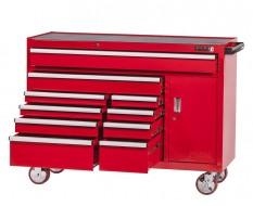 Profi Werkstattwagen 10 Schubladen + Werkzeugschrank Rot mit Einzelarretierung