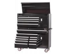 Profi Werkstattwagen Set 14 Schubladen + Werkzeugschrank + Werkzeugkiste Schwarz mit Einzelarretierung
