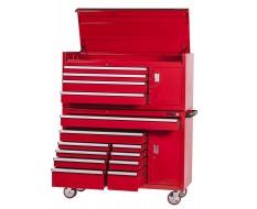 Profi Werkstattwagen Set 14 Schubladen + Werkzeugschrank + Werkzeugkiste Rot mit Einzelarretierung