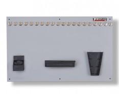 Werkzeugwand grau 100 x 61 cm bestückt mit Haken und Werkzeughalter
