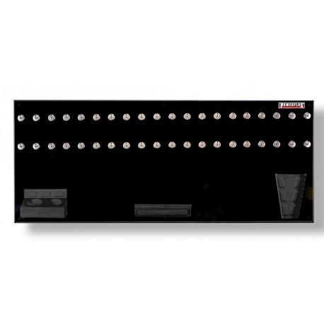 Werkzeugwand schwarz 150 x 61 cm bestückt mit Haken und Werkzeughalter