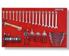Werkzeugwand rot 100 x 61 cm bestückt mit Werkzeug, Magnetische Haken + Werkzeughalter