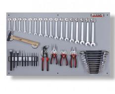 Werkzeugwand grau 100 x 61 cm bestückt mit Werkzeug, Magnetische Haken + Werkzeughalter
