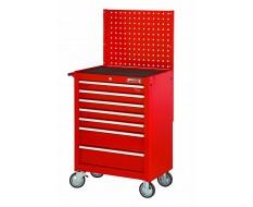 Werkstattwagen Rot 7 Schubladen mit Einzelarretierung und Lochwand