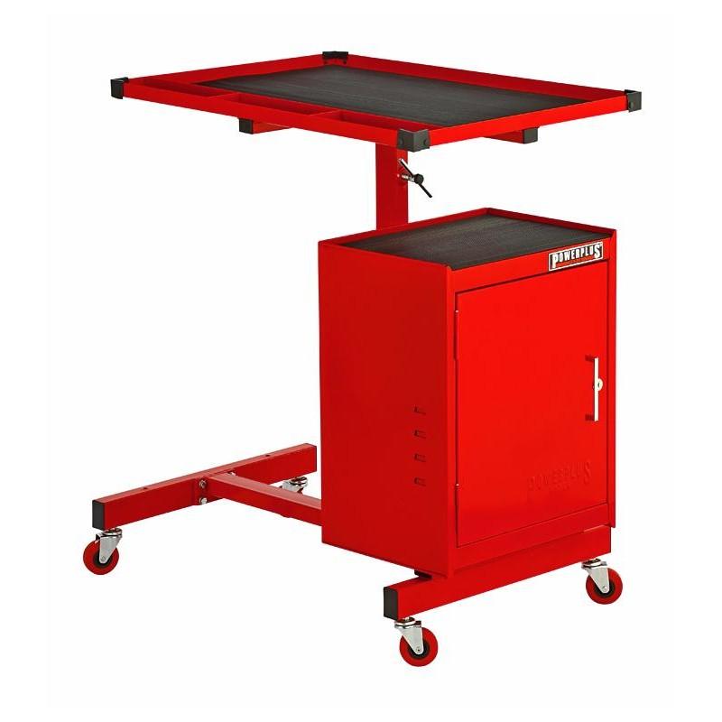 Werkstattrollwagen Rot Mit Höhen Verstellbarer Tisch