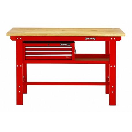 Profi Werkbank 150 x 61 x 95 cm. Rot mit Werkzeugkiste 3 Schubladen