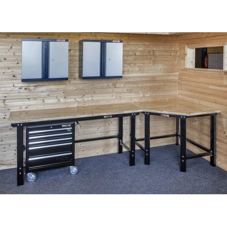 Übereck Werkbank Set 310 cm schwarz mit Hartholzplatte und Werkstattwagen + 2 x Hängeschrank - Eck Werkbank Set