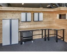 Übereck Werkbank Set 310 cm schwarz mit Hartholzplatte - Werkstattwagen + 2 x Hängeschrank-1 x Werkstattschrank-Eck Werkbank Set
