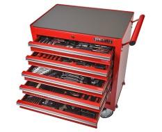 Werkstattwagen bestückt - Werkstattwagen gefüllt rot 6 Schubladen - davon 5 Schubladen gefüllt