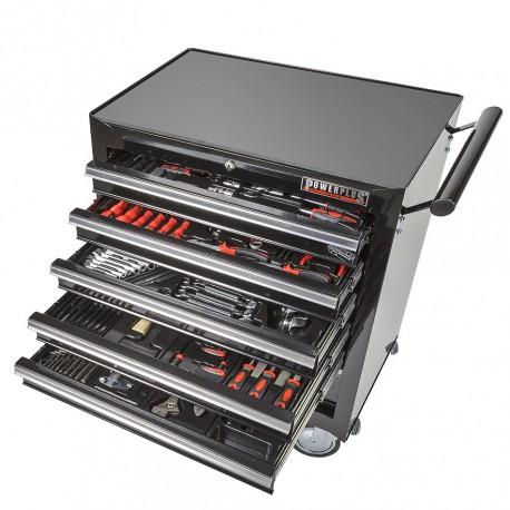 Werkstattwagen bestückt - Werkstattwagen gefüllt schwarz 6 Schubladen - davon 5 Schubladen gefüllt