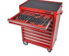 Werkstattwagen bestückt - Werkstattwagen gefüllt rot 9 Schubladen - davon 8 Schubladen gefüllt und 1 Schublade leer