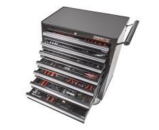 Werkstattwagen Schwarz 7 Schubladen - davon 7 Schubladen gefüllt - bestückt - niedrige Ausführung