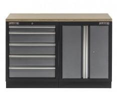 Werkbank mit Multiplexplatte, Werkzeugschrank mit 5 Schubladen und Werkstattschrank aus Metall - 136 cm