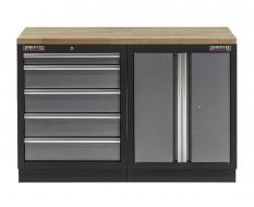 Werkbank mit Hartholzplatte, Werkzeugschrank mit 5 Schubladen und Werkstattschrank aus Metall - 136 cm