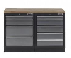Werkbank mit Hartholzplatte und 9 Schubladen - 136 cm