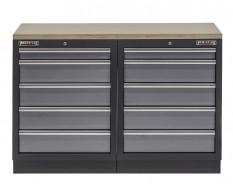 Werkbank mit Multiplexplatte und 10 Schubladen - 136 cm