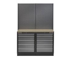 Werkbank mit Multiplexplatte, Lochwand und 10 Schubladen - 136 cm