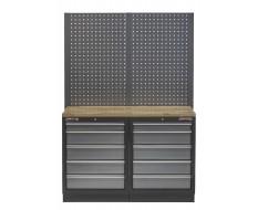 Werkbank mit Hartholzplatte, Lochwand und 10 Schubladen - 136 cm