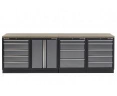 Werkbank mit Multiplexplatte, Werkzeugschrank mit 14 Schubladen und Werkstattschrank aus Metall - 272 cm