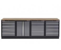 Werkbank mit Hartholzplatte, Werkzeugschrank mit 14 Schubladen und Werkstattschrank aus Metall - 272 cm