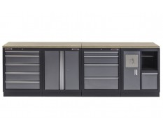 Werkbank mit Multiplexplatte, Werkzeugschrank mit 9 Schubladen und Werkstattschrank mit Mülleimer - 272 cm