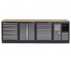 Werkbank mit Hartholzplatte, Werkzeugschrank mit 9 Schubladen und Werkstattschrank mit Mülleimer - 272 cm