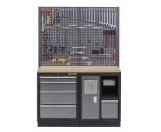 Werkbank mit Multiplexplatte, Lochwand, Mülleimer und 4 Schubladen - 136 cm