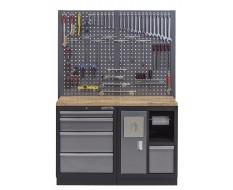 Werkbank mit Hartholzplatte, Lochwand, Mülleimer und 4 Schubladen - 136 cm