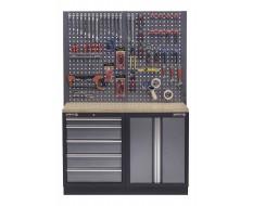 Werkbank mit Multiplexplatte, Lochwand, Werkzeugschrank mit 5 Schubladen und Werkstattschrank aus Metall - 136 cm
