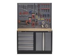 Werkbank mit Hartholzplatte, Lochwand, Werkzeugschrank mit 5 Schubladen und Werkstattschrank aus Metall - 136 cm