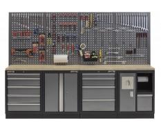 Werkbank mit Multiplexplatte, Lochwand, Werkzeugschrank mit 9 Schubladen und Werkstattschrank mit Mülleimer - 272 cm
