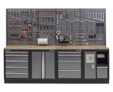 Werkbank mit Hartholzplatte, Lochwand, Werkzeugschrank mit 9 Schubladen und Werkstattschrank mit Mülleimer - 272 cm