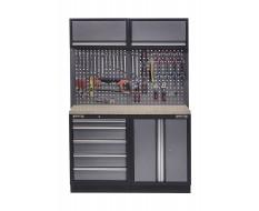 Werkbank mit Multiplexplatte, Hängeschrank, Werkzeugschrank mit 5 Schubladen und Werkstattschrank aus Metall - 136 cm