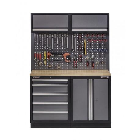 Werkbank mit Hartholzplatte, Hängeschrank, Werkzeugschrank mit 5 Schubladen und Werkstattschrank aus Metall - 136 cm