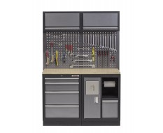 Werkbank mit Multiplexplatte, Hängeschrank, Werkzeugschrank mit 4 Schubladen und Mülleimer- 136 cm